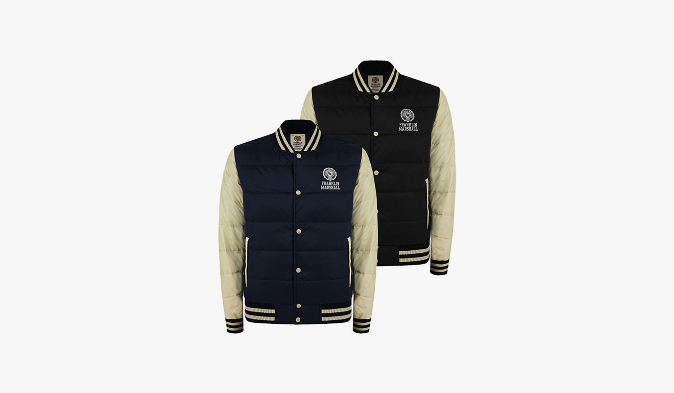 Franklin-&-Marshall-Goose-Feather-Varsity-Down-Jacket-Black-01