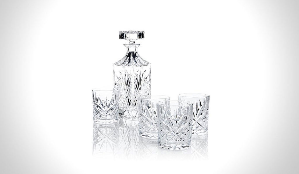 James Scott 5 PC Crystal Whiskey Decanter Set   gifts for whiskey lovers
