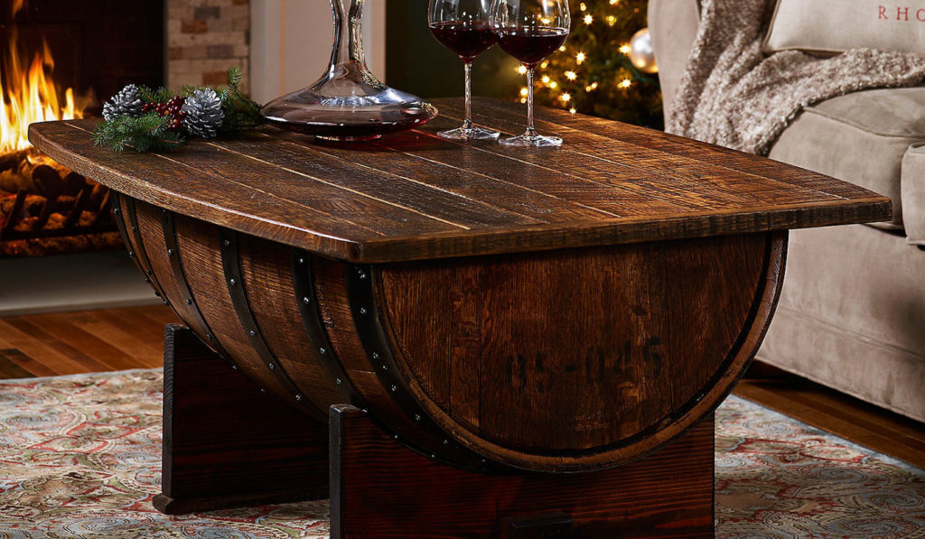 Handmade Vintage Oak Whiskey Barrel Coffee Table   gifts for whiskey lovers