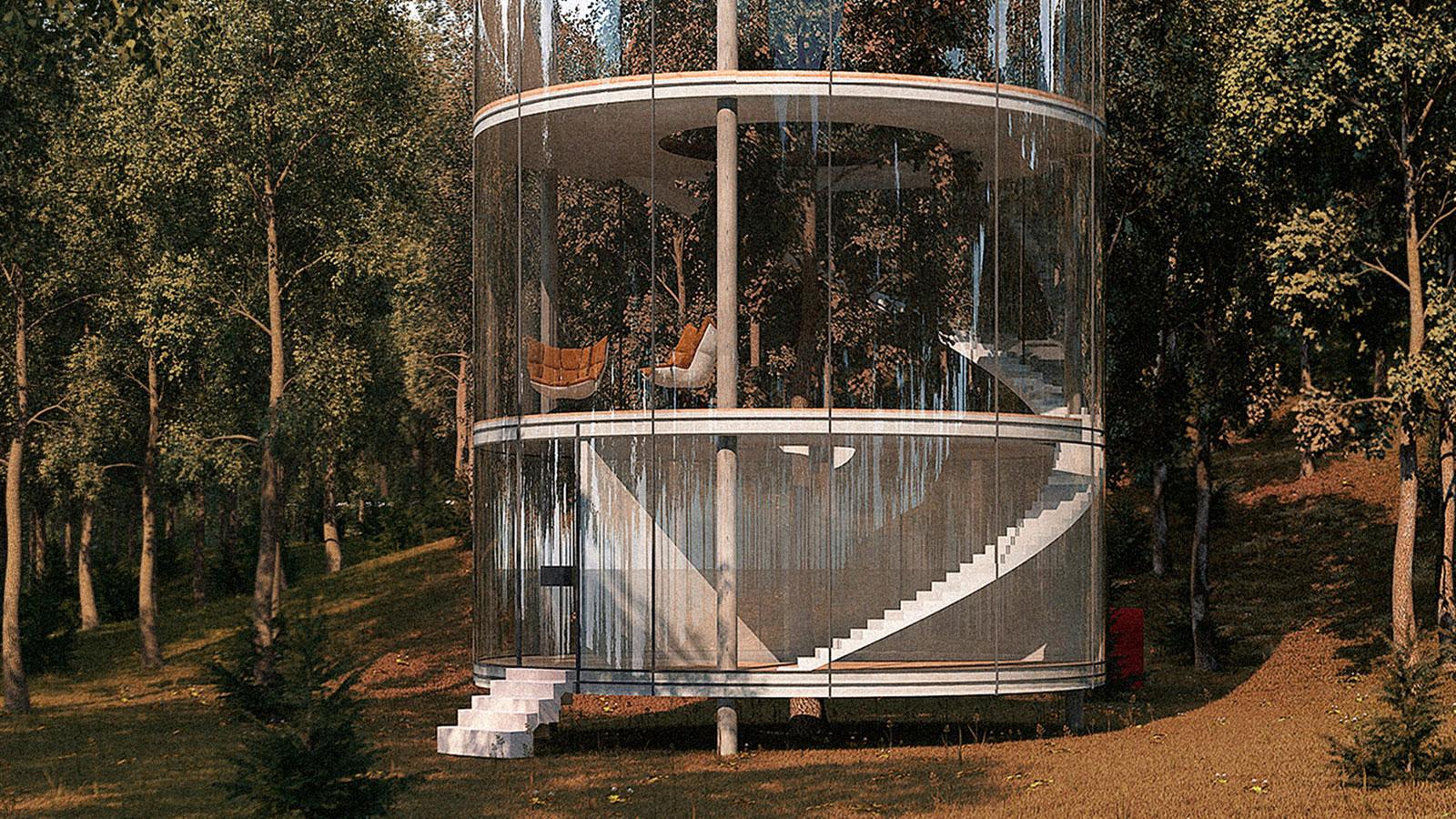 The tubular tree house by aibek almassov muted - The tubular glass house ...