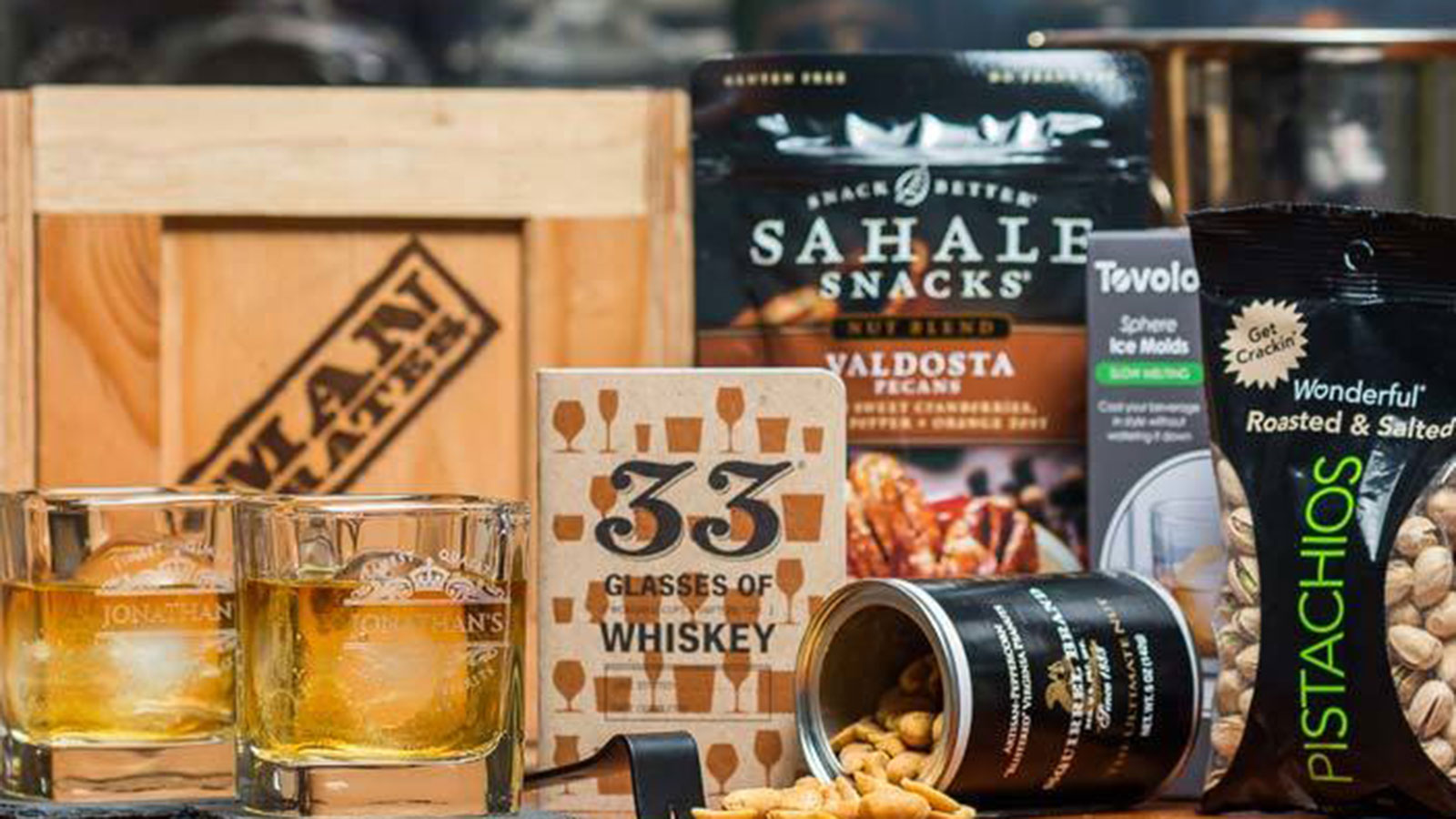 Personalized Whiskey Crate Gift Basket | Gifts For Men | Gift Baskets For Men