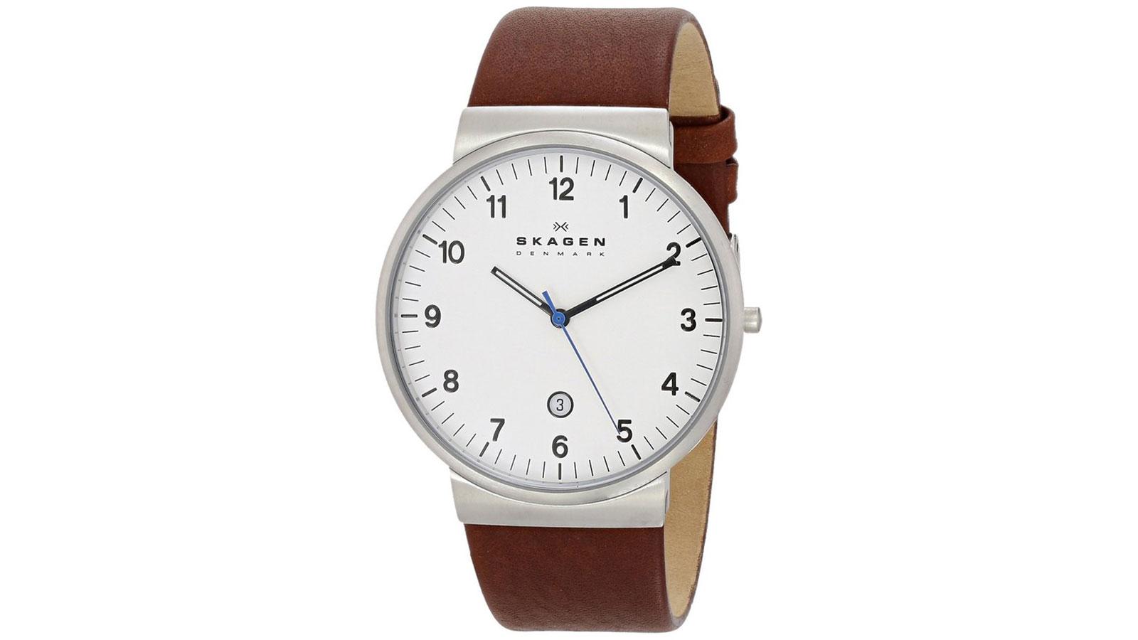 Skagen Klassik Men's Three-Hand Leather Watch   best men's watches under $100