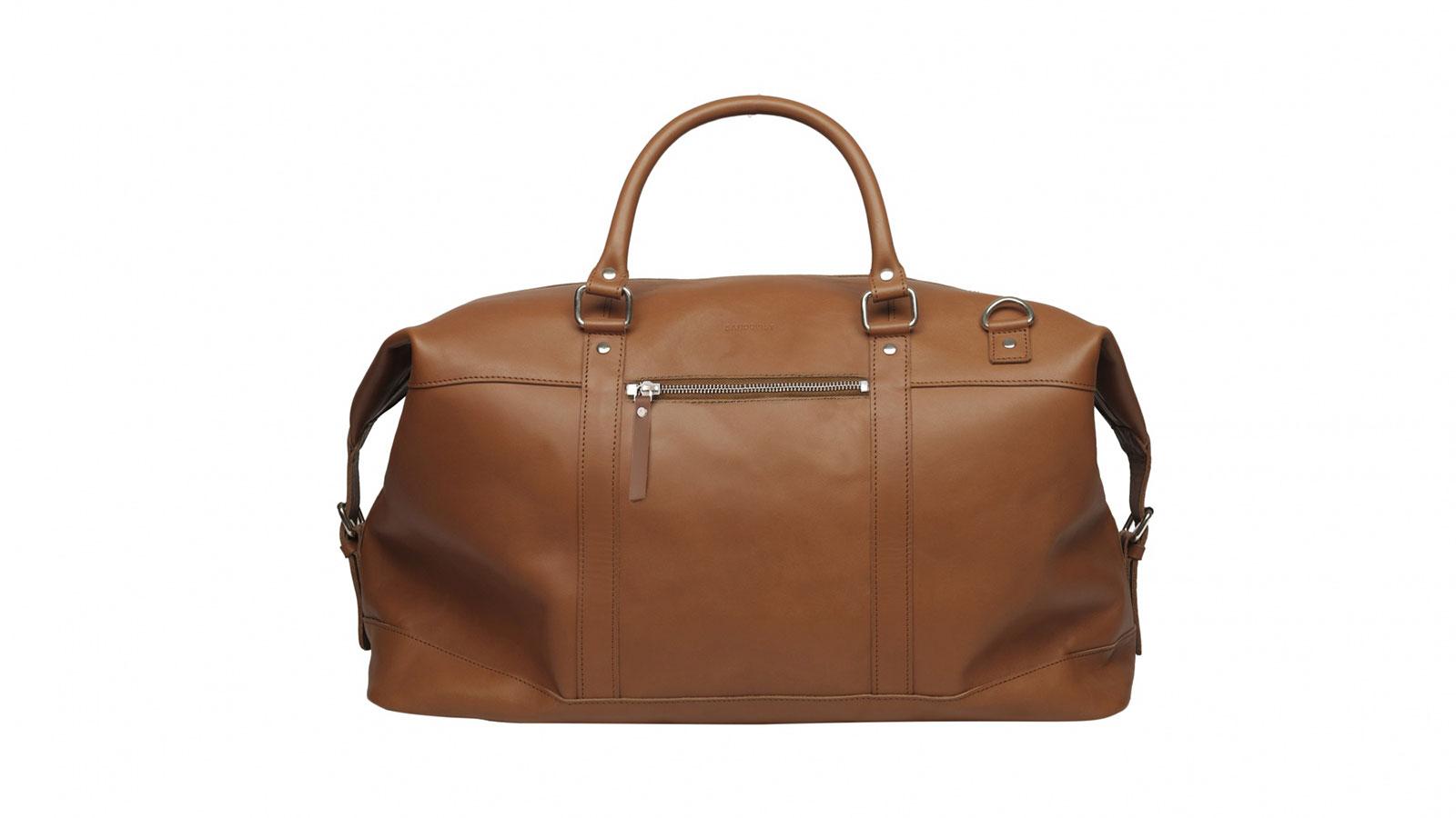 Sandqvist Jordan Cognac Leather Weekender Duffel Bag | the best weekender bags for men